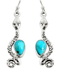 5.11cts blue arizona mohave turquoise 925 sterling silver snake earrings r10194
