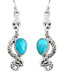 925 sterling silver 5.11cts blue arizona mohave turquoise snake earrings r10195
