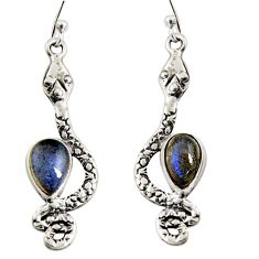 5.38cts natural blue labradorite 925 sterling silver snake earrings r10196