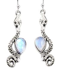 5.38cts natural rainbow moonstone 925 sterling silver snake earrings r10197