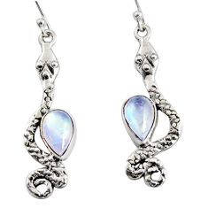 5.16cts natural rainbow moonstone 925 sterling silver snake earrings r10198