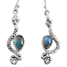 925 sterling silver 5.16cts natural blue labradorite snake earrings r10199