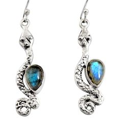 5.38cts natural blue labradorite 925 sterling silver snake earrings r10200