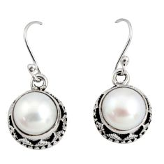 10.89cts natural white pearl 925 sterling silver dangle earrings jewelry r10201