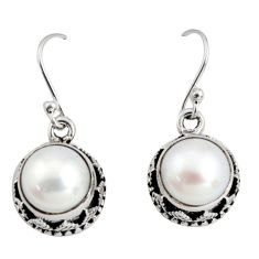 11.22cts natural white pearl 925 sterling silver dangle earrings jewelry r10202