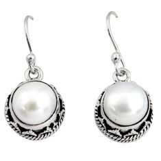 10.04cts natural white pearl 925 sterling silver dangle earrings jewelry r10209