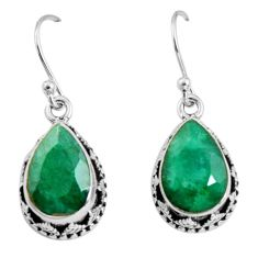 9.14cts natural green emerald 925 sterling silver dangle earrings jewelry r10212