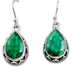 925 sterling silver 8.70cts natural green emerald dangle earrings jewelry r10218