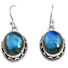 9.62cts natural blue labradorite 925 sterling silver dangle earrings r10222