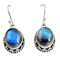 925 sterling silver 10.72cts natural blue labradorite dangle earrings r10224