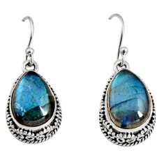 12.62cts natural blue labradorite 925 sterling silver dangle earrings r10229