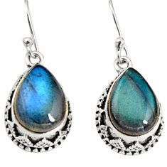 12.83cts natural blue labradorite 925 sterling silver dangle earrings r10230