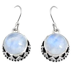 925 sterling silver 11.54cts natural rainbow moonstone dangle earrings r10240