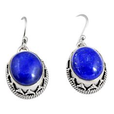 12.04cts natural blue lapis lazuli 925 sterling silver dangle earrings r10241
