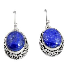 11.54cts natural blue lapis lazuli 925 sterling silver dangle earrings r10242