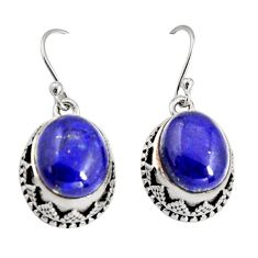 11.02cts natural blue lapis lazuli 925 sterling silver dangle earrings r10243