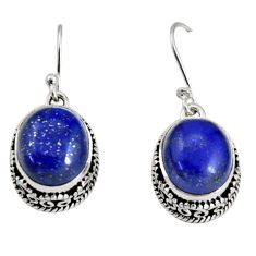 925 sterling silver 11.77cts natural blue lapis lazuli dangle earrings r10244