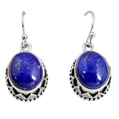 10.48cts natural blue lapis lazuli 925 sterling silver dangle earrings r10247