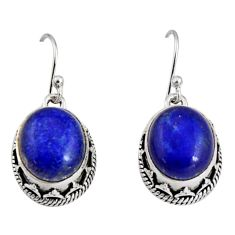 925 sterling silver 10.74cts natural blue lapis lazuli dangle earrings r10248