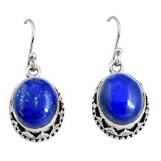 10.74cts natural blue lapis lazuli 925 sterling silver dangle earrings r10249
