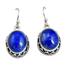 10.74cts natural blue lapis lazuli 925 sterling silver dangle earrings r10250