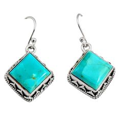10.48cts green arizona mohave turquoise 925 silver dangle earrings r10254