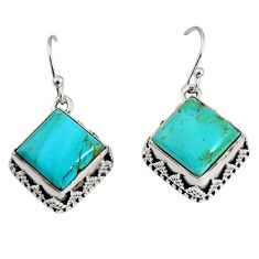 11.02cts green arizona mohave turquoise 925 silver dangle earrings r10259