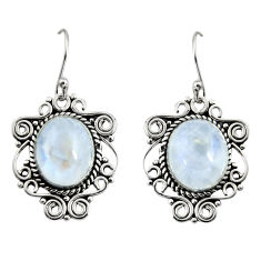 925 sterling silver 11.54cts natural rainbow moonstone dangle earrings r11063