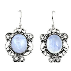 11.83cts natural rainbow moonstone 925 sterling silver dangle earrings r11066