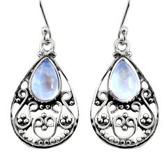 925 sterling silver 4.74cts natural rainbow moonstone dangle earrings r11070
