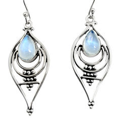 4.73cts natural rainbow moonstone 925 sterling silver dangle earrings r11072