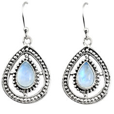 925 sterling silver 4.74cts natural rainbow moonstone dangle earrings r11073