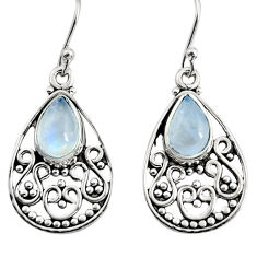 4.74cts natural rainbow moonstone 925 sterling silver dangle earrings r11074