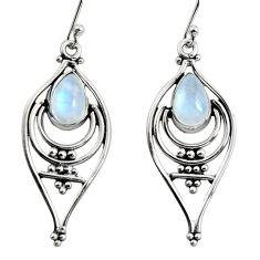 4.73cts natural rainbow moonstone 925 sterling silver dangle earrings r11075