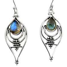 4.46cts natural blue labradorite 925 sterling silver dangle earrings r11076