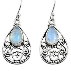 925 sterling silver 4.74cts natural rainbow moonstone dangle earrings r11077