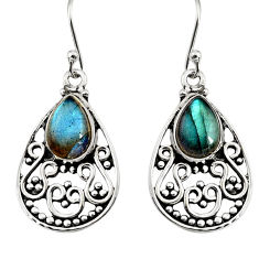925 sterling silver 4.40cts natural blue labradorite dangle earrings r11084