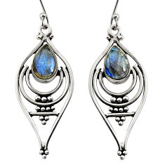 925 sterling silver 4.28cts natural blue labradorite dangle earrings r11090