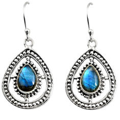 4.40cts natural blue labradorite 925 sterling silver dangle earrings r11092