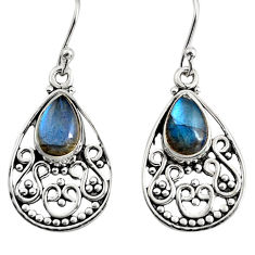 925 sterling silver 4.40cts natural blue labradorite dangle earrings r11094