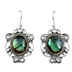 11.22cts natural blue labradorite 925 sterling silver dangle earrings r11095