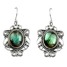 11.19cts natural blue labradorite 925 sterling silver dangle earrings r11096