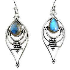 4.49cts natural blue labradorite 925 sterling silver dangle earrings r11098