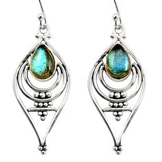 4.45cts natural blue labradorite 925 sterling silver dangle earrings r11099