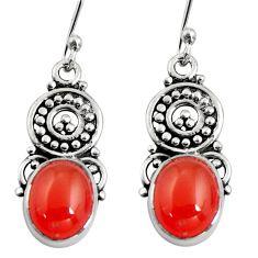 8.06cts natural orange cornelian (carnelian) 925 silver dangle earrings r11101