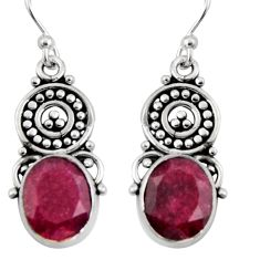 8.06cts natural red ruby 925 sterling silver dangle earrings jewelry r11103