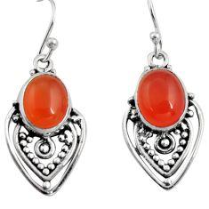 8.06cts natural orange cornelian (carnelian) 925 silver dangle earrings r11106
