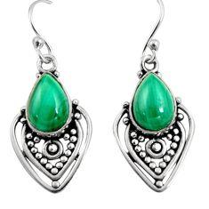 8.77cts natural green malachite (pilot's stone) silver dangle earrings r11107