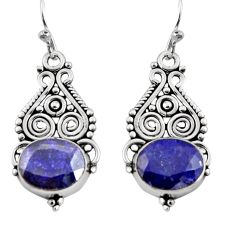 925 sterling silver 8.22cts natural blue sapphire dangle earrings jewelry r11108