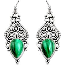 7.53cts natural green malachite (pilot's stone) silver dangle earrings r11109